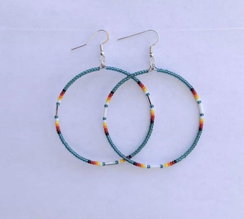 Seed Bead Dangle Hoop Earrings