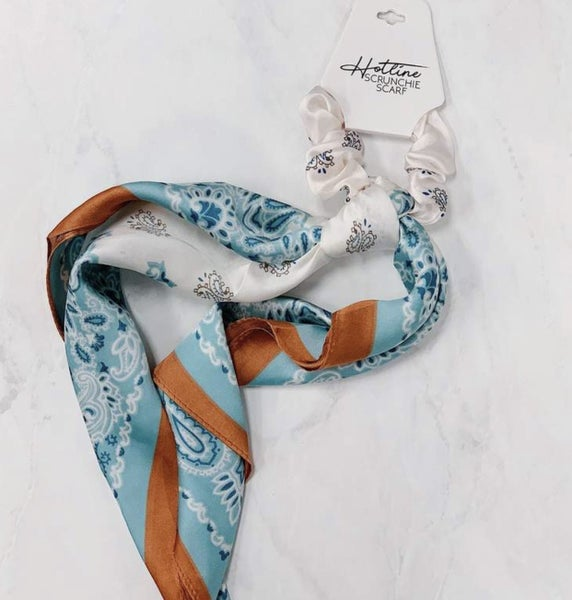 Mint and Rust Handkerchief Scrunchie Scarf
