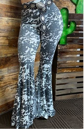 Cow printed bell bottoms PU