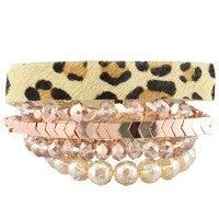 Leopard and rose gold bracelet set