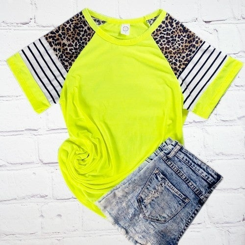 Neon yellow leopard and stripe jersey top PU