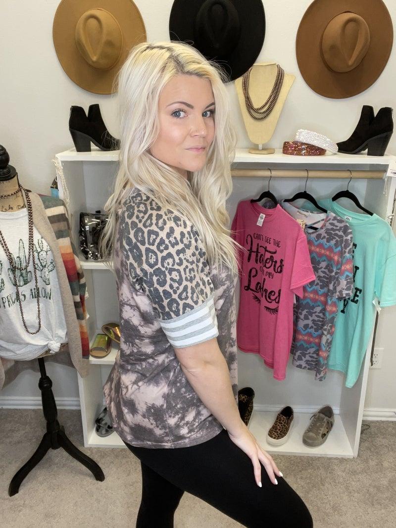 Multi print/leopard short sleeve top PU *Final Sale*