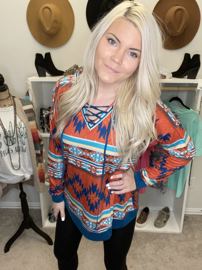 Tribal Aztec printed long sleeve top with criss cross neckline tie PU *Final Sale*