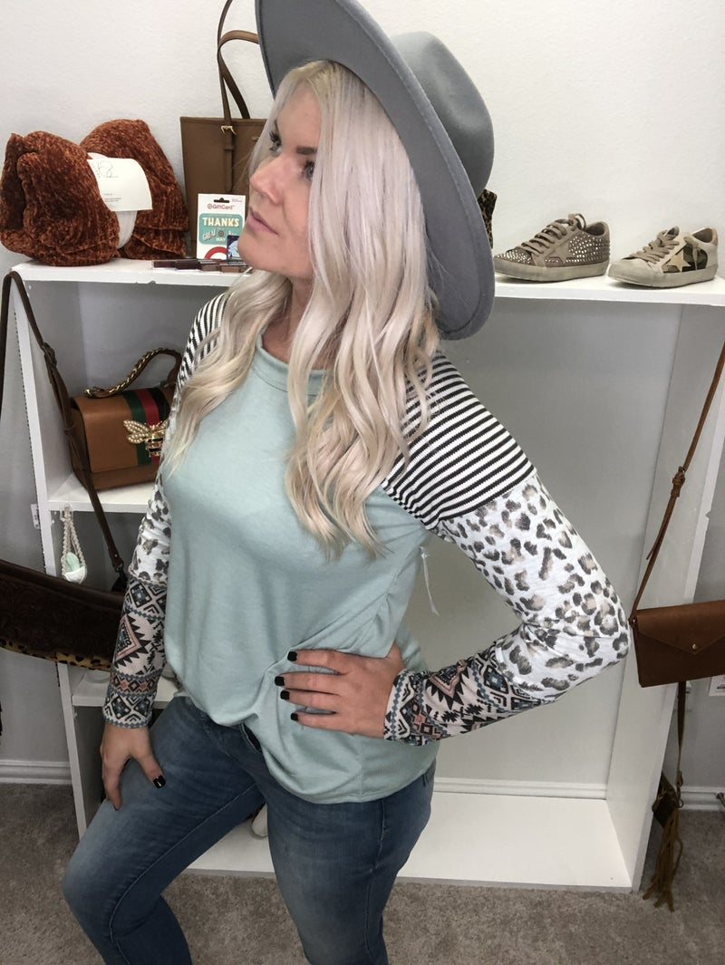 Ash mint snow leopard Aztec and striped sleeves top