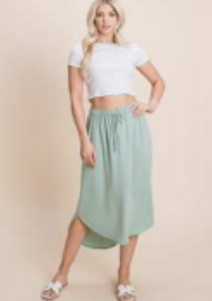 A high low knit mid skirt