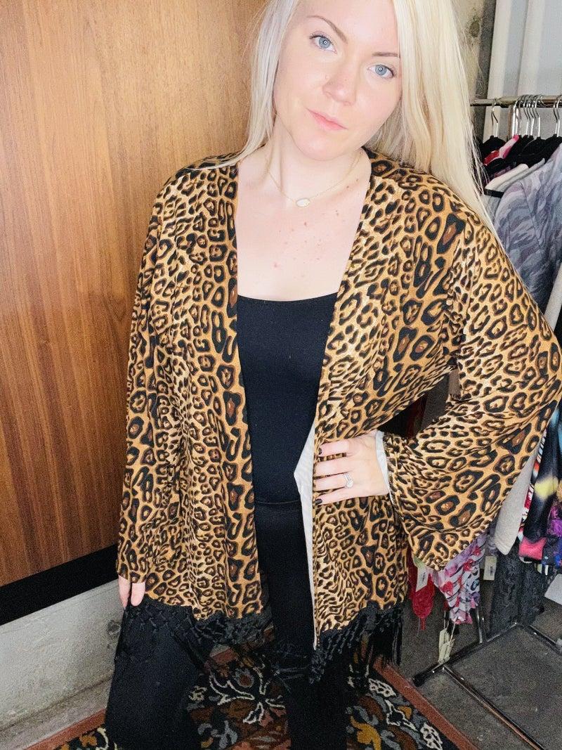 Leopard printed cardigan w/tassels PU *Final Sale*
