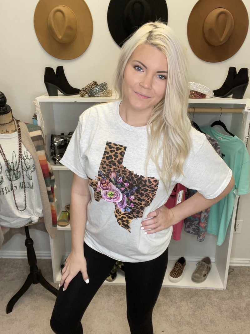 TEXAS LEOPARD AND FLORAL TEE SHIRT PU