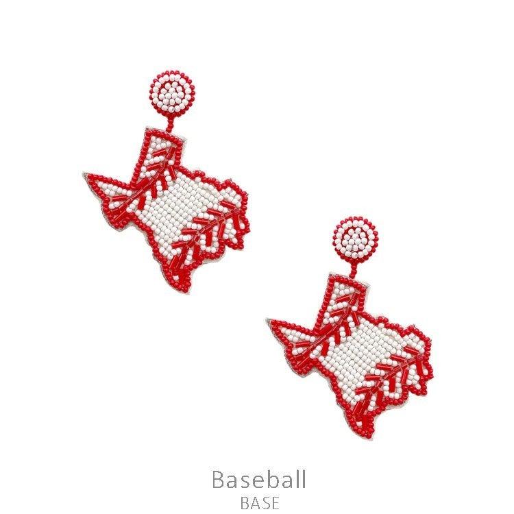 Seed Bead TX Baseball Earrings