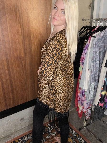 Leopard printed cardigan w/tassels PU