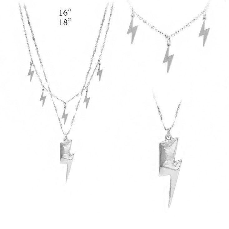 Duel Layer Silver Lightning Bolt Necklace