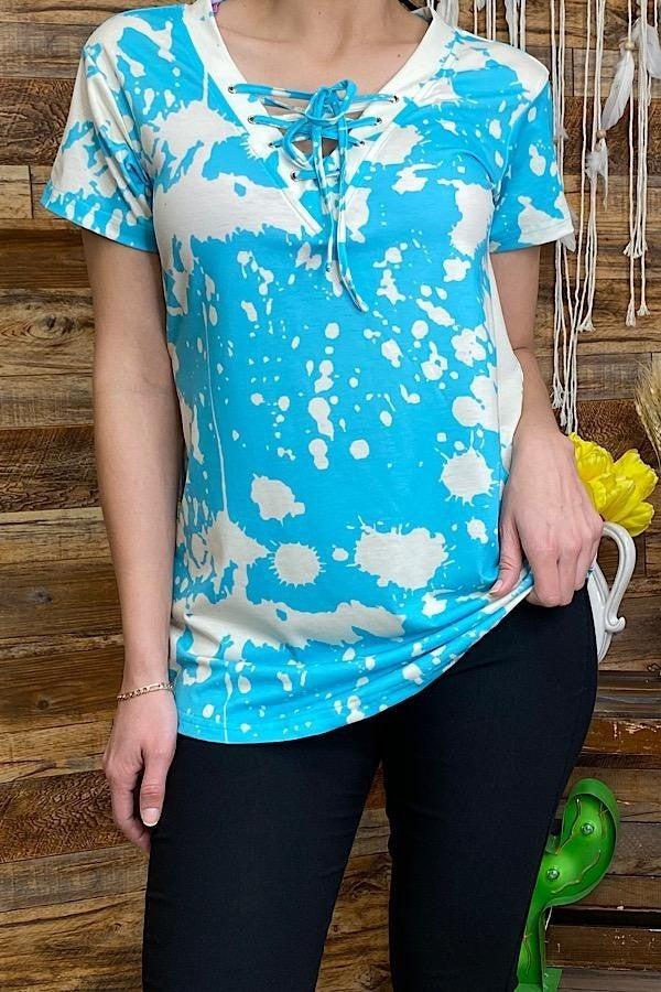 Blue/white tie dye short sleeve top