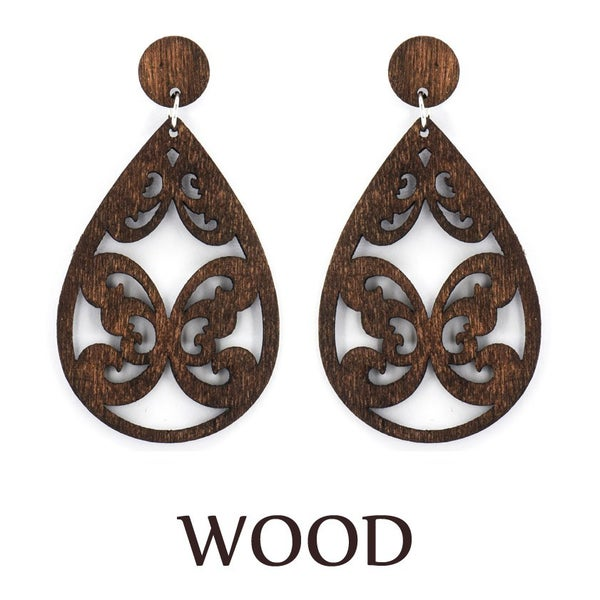 Brown Wood Laser Butterfly Earrings