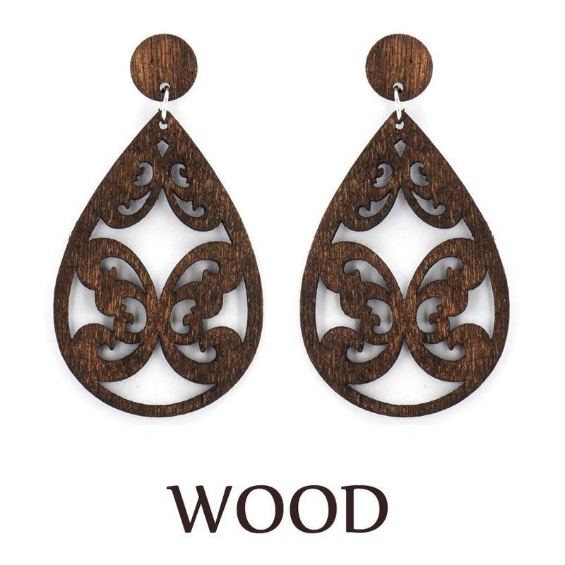 Brown Wood Laser Butterfly Earrings
