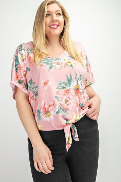 Floral Print V Neck With Front Tie