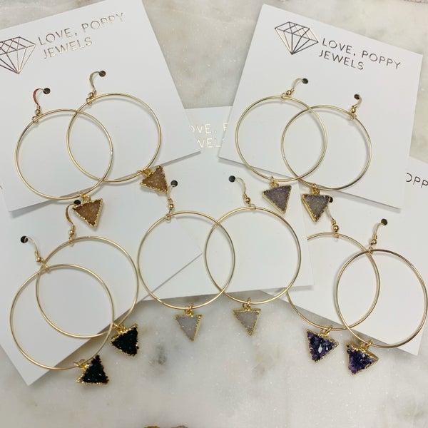 Love Poppy Custom Hoop Druzy Earrings - Gold