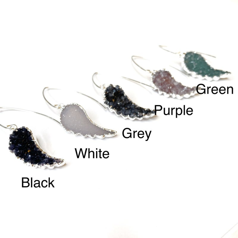 Silver Druzy Angel Wing Earrings! - 5 Colors!
