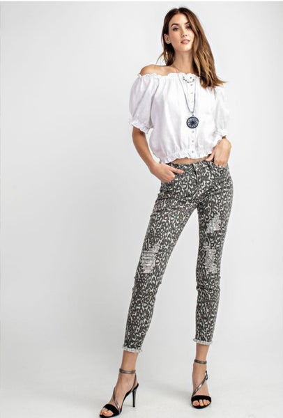 Distressed Leopard Ankle Pants