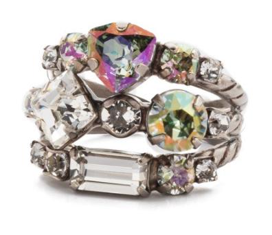 Sorrelli Sedge Crystal Stacked Ring
