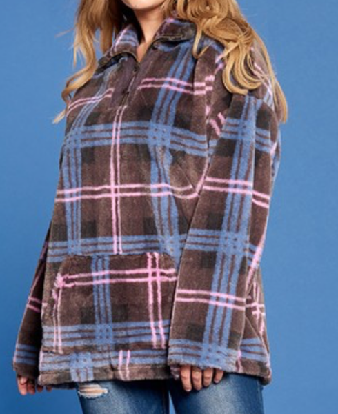 Stay Warm Friends Plaid Pullover