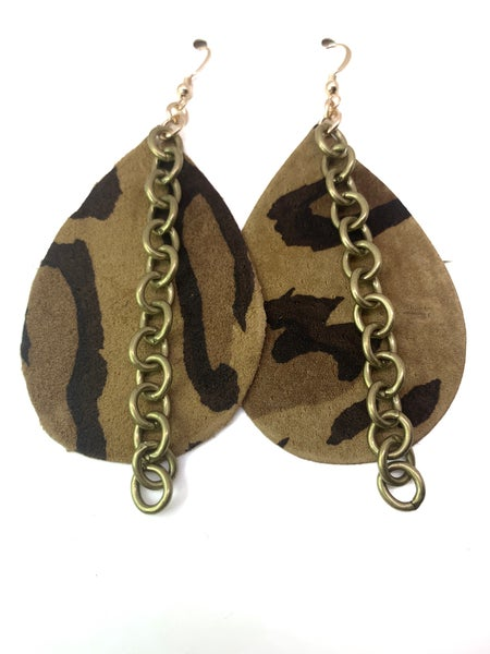 Leopard Leather & Chains Earrings
