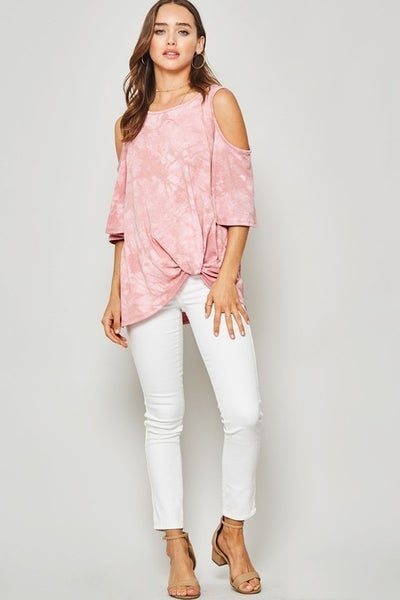 Tie-Dye Cold-Shoulder Knotted Bell-Sleeve Top