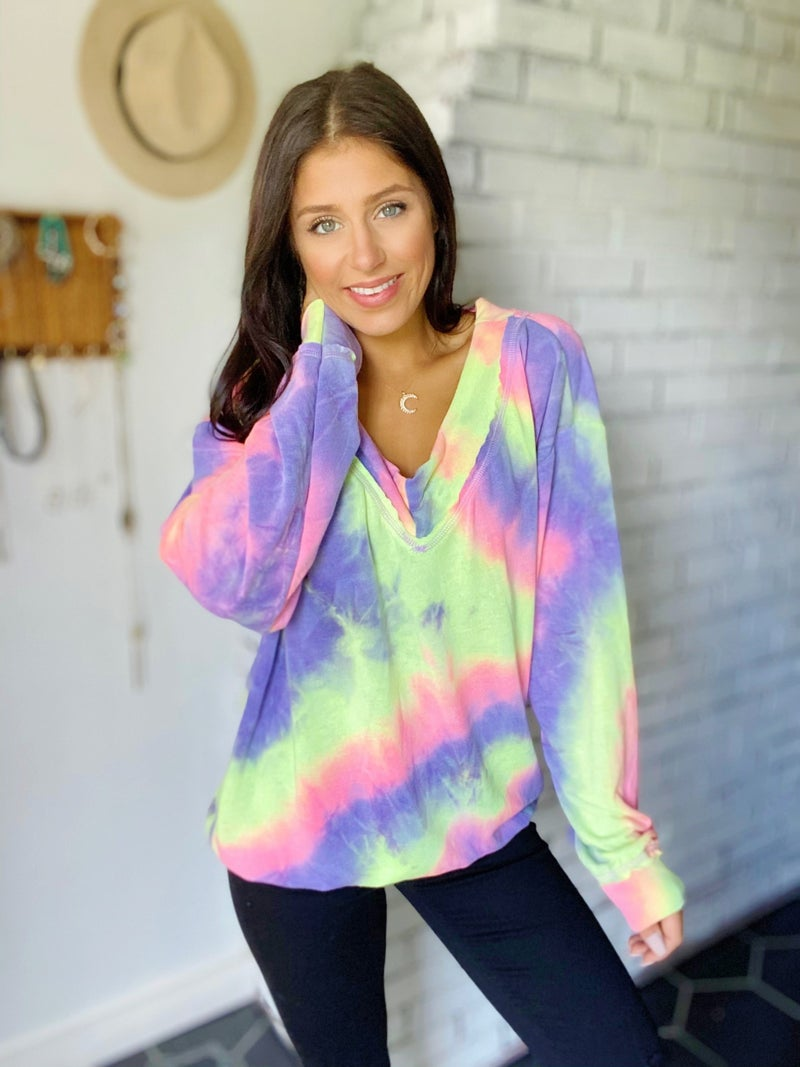 Round And Round Tie Dye Top - 2 Colors