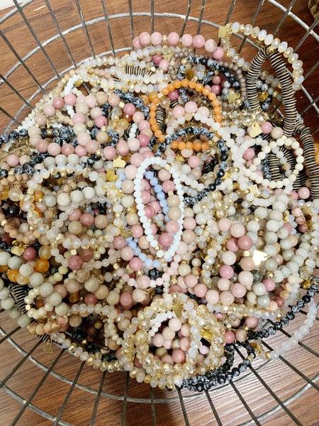 Elegant Beaded Stretch Bracelet Set