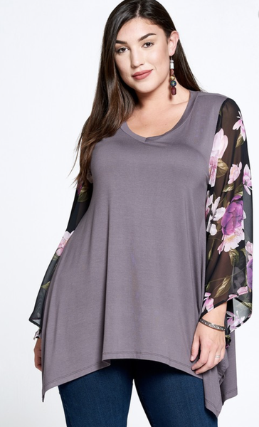 Happy To See You Floral Bell Sleeve Top