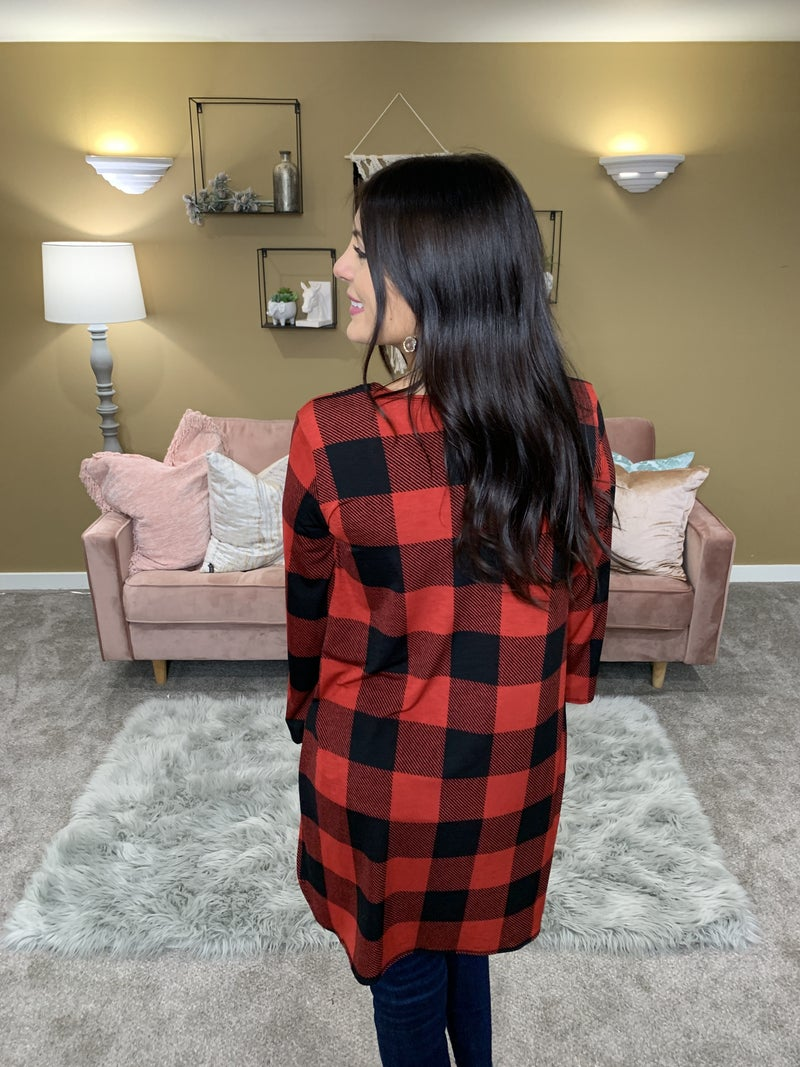 Fall Is In The Air Plaid Cardigan