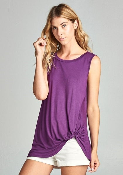 Perfectly Plum Twist Front Tank
