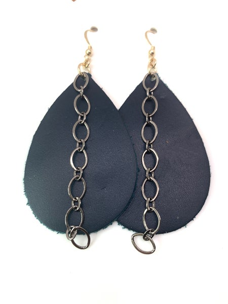 Teal Leather & Chains Earrings