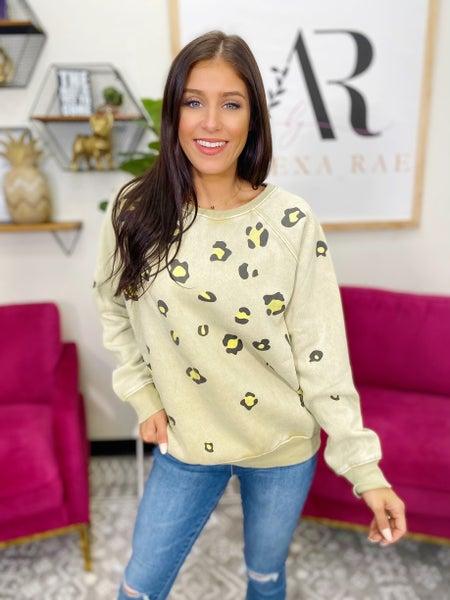 Happy go Lucky Leopard Pullover - Khaki