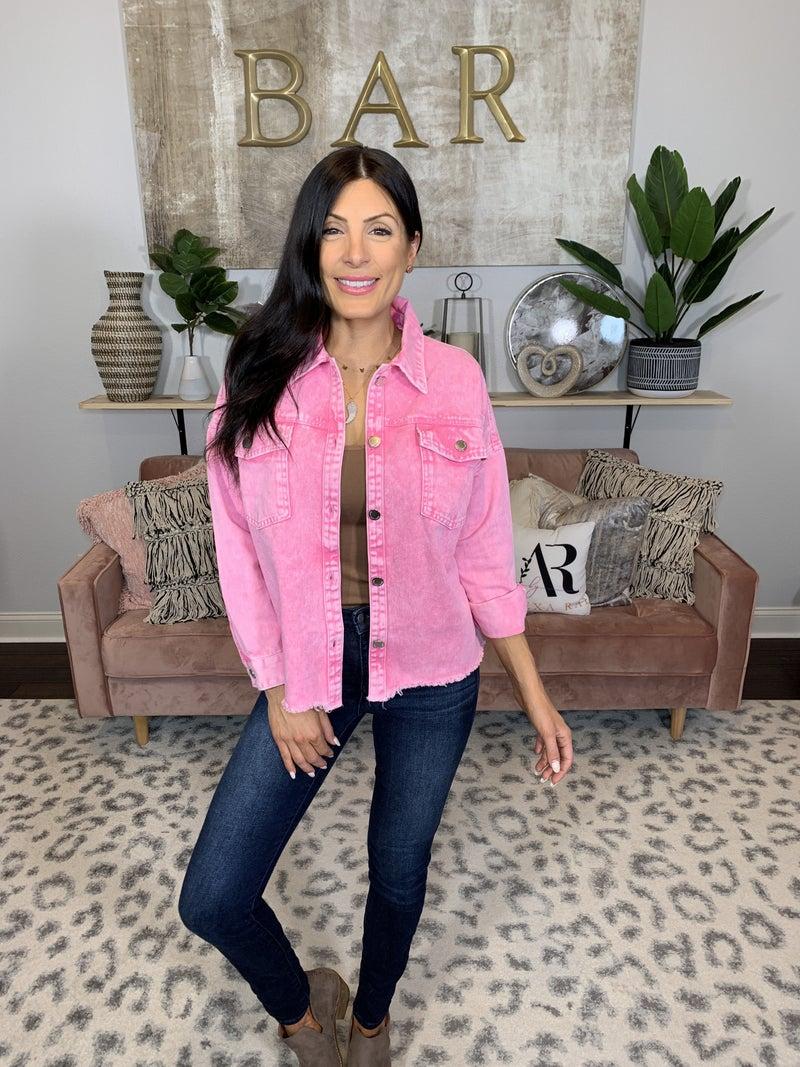 Setting Trends Denim Jacket - Pink