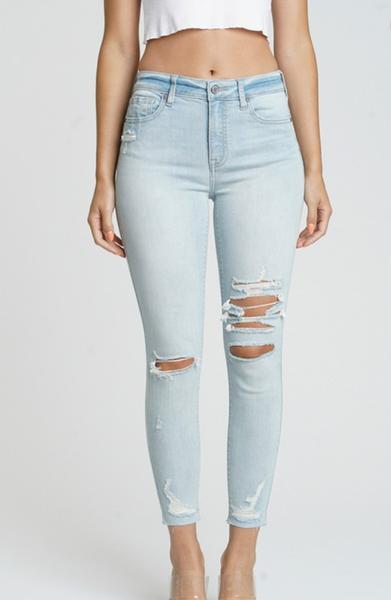 Clara Light Wash High Rise Skinny Crop Jeans