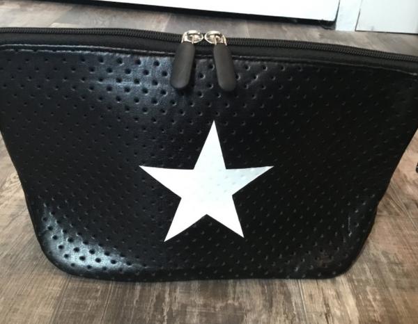 Peace Love White Star Black Bag Clutch