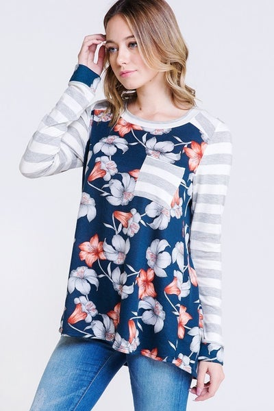 FLORAL PRINT WITH STRIPE