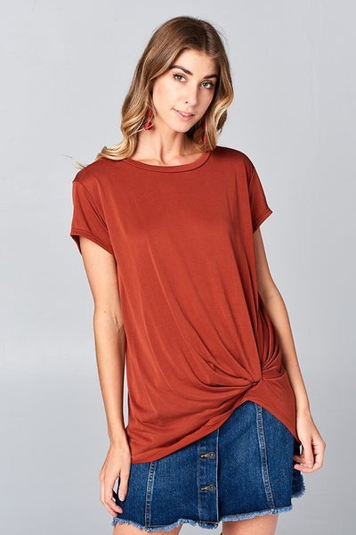 Short sleeved, gathered side tie top