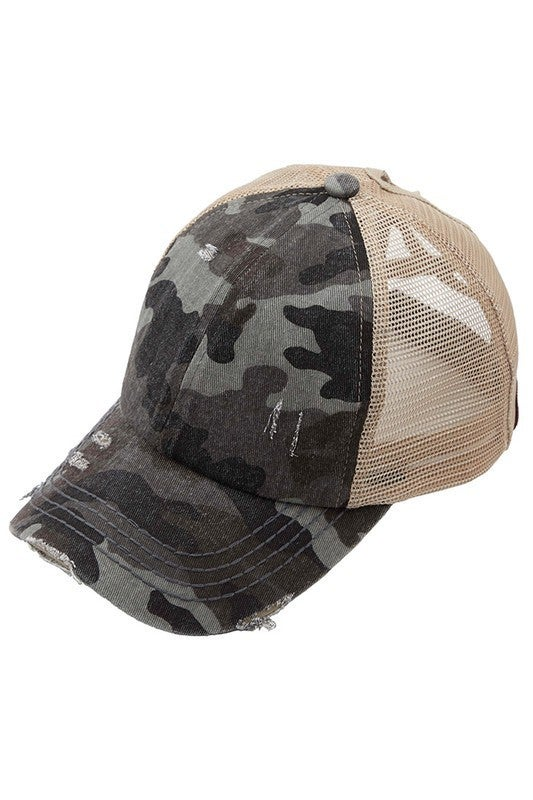 Camo Criss Cross Ponytail Hat - 4 Colors!