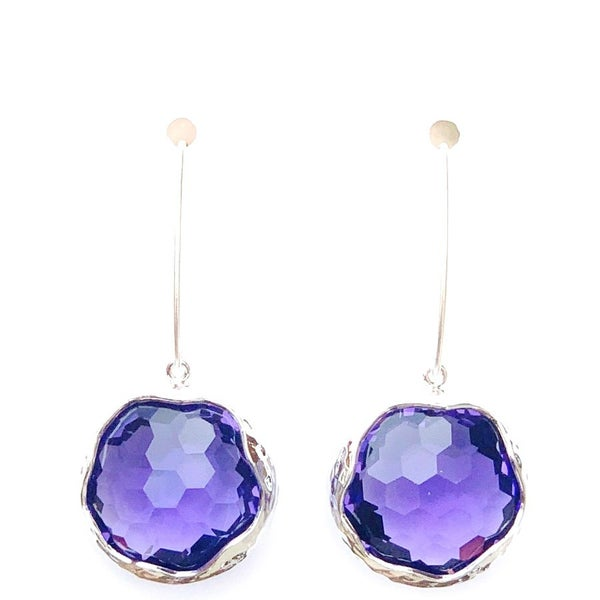 Purple/Silver Shine Bright Drop Gem Earrings