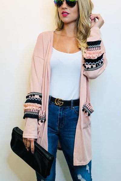 Ruffle And Pom Cardi - 2 Colors!