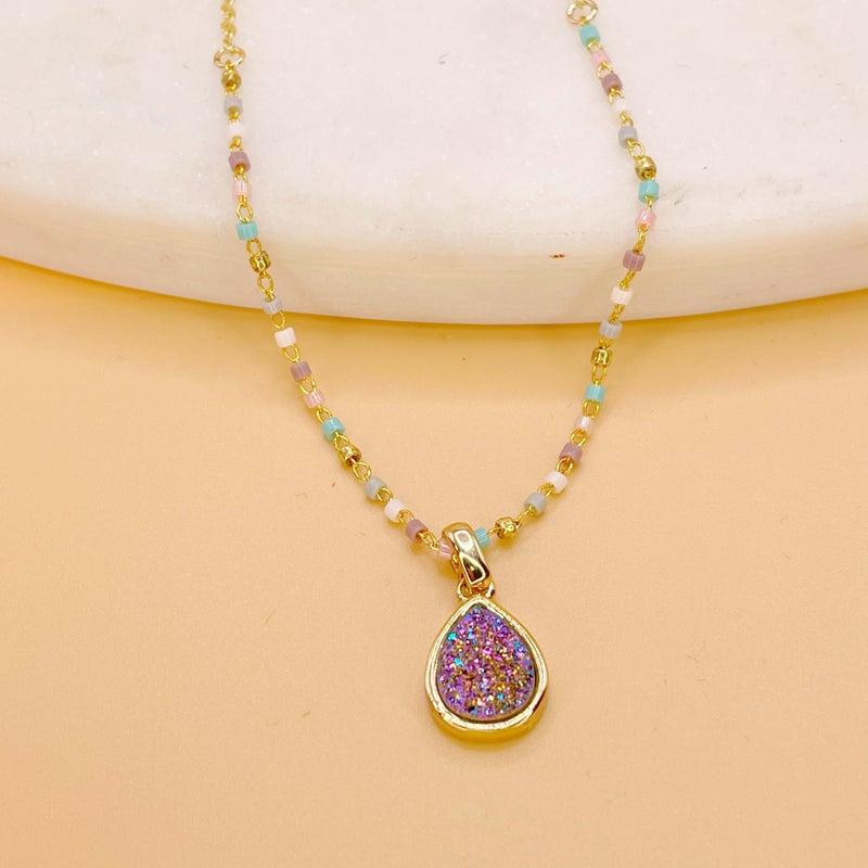 BB Lila Geo Druzy Mermaid Necklace