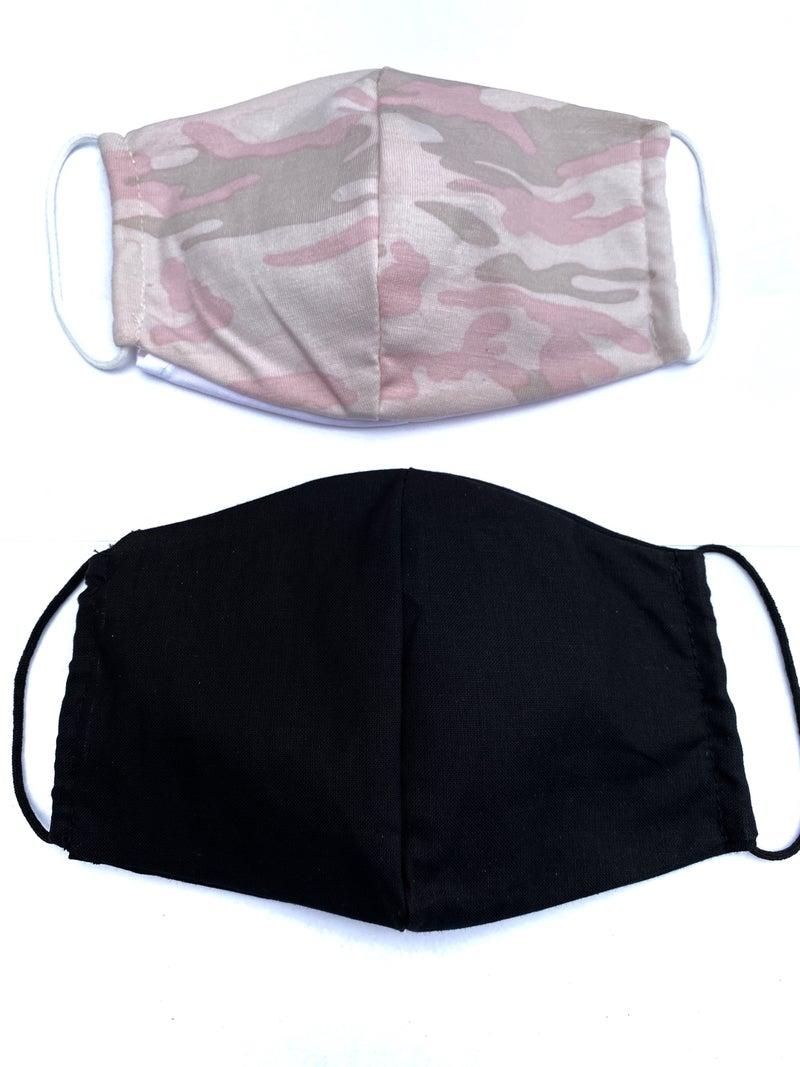 Pink Camo + Black Facial Masks - 2 Pack!