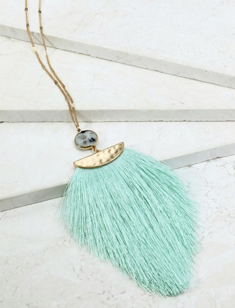 Hammered Metal and Colored Tassel Necklace