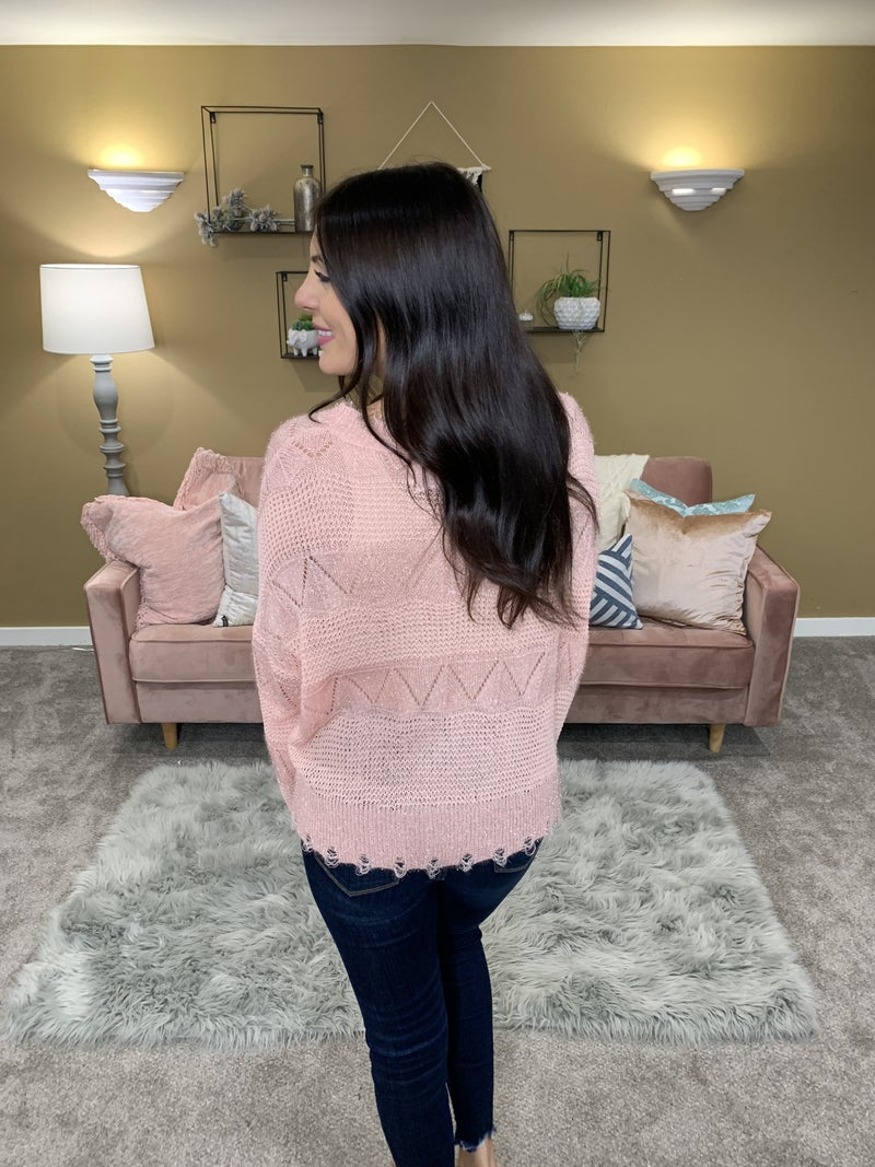 POL Pinking Of You Open Weave POL Sweater