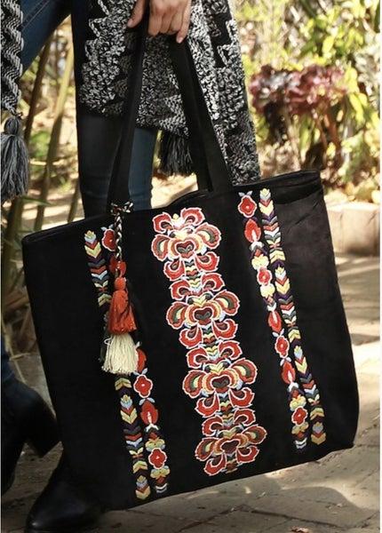 Velvet Hand Embroidered Tote
