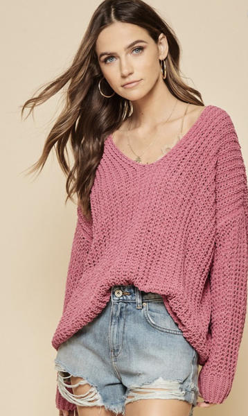 Delightfully Cozy Sweater - Mauve