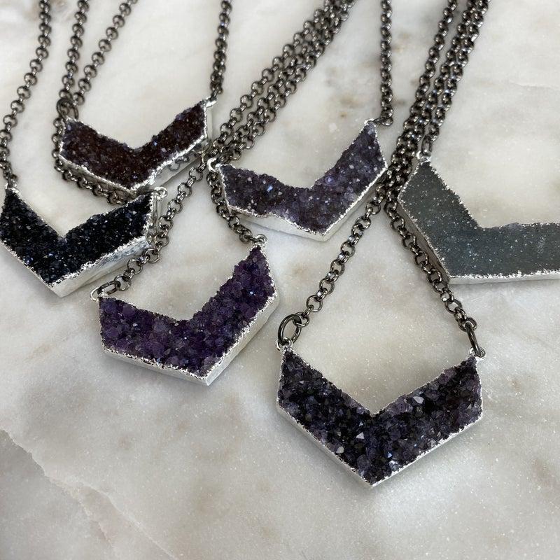 Custom Chevron Druzy Necklace -Silver (6 Colors)