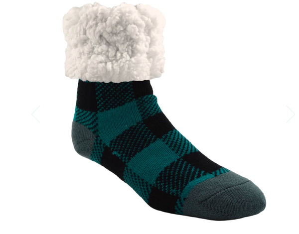 Pudu Teal Buffalo Plaid Slipper Socks