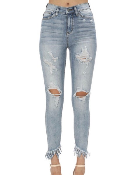 Judy Blue Ankle Fray Distressed Skinnys