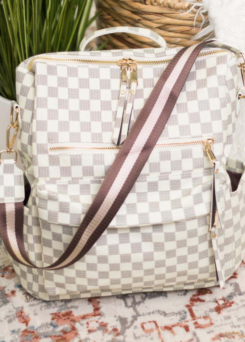 Checker Convertible Guitar Strap Backpack - 2 Colors!